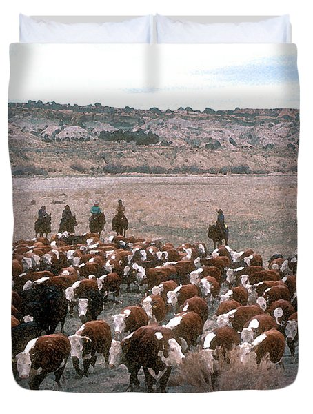 New Mexico Cattle Drive Duvet Cover by Jerry McElroy