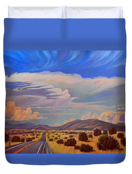 Duvet Cover featuring the painting New Mexico Cloud Patterns by Art James West