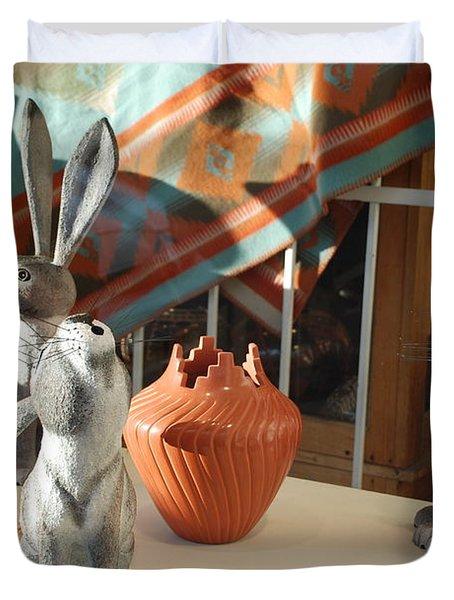 New Mexico Rabbits Duvet Cover by Rob Hans