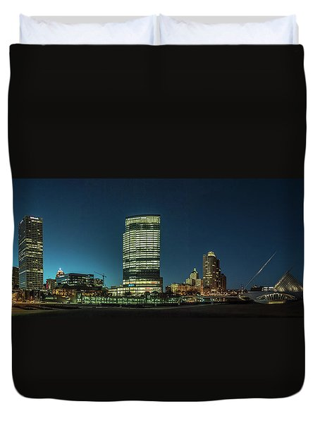Duvet Cover featuring the photograph New Milwaukee Skyline by Randy Scherkenbach