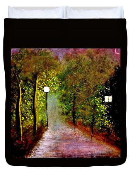 Duvet Cover featuring the painting New Moon... by Cristina Mihailescu