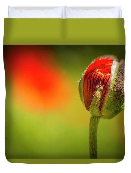 New Orange Poppy Bloom Duvet Cover