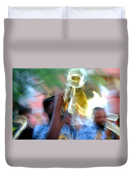 New Orleans Abstract Street Jazz Performance Duvet Cover