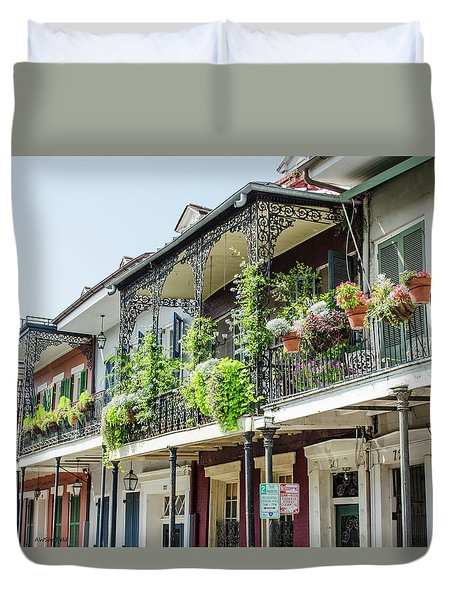 Duvet Cover featuring the photograph New Orleans - Architecture - Balconies by Allen Sheffield