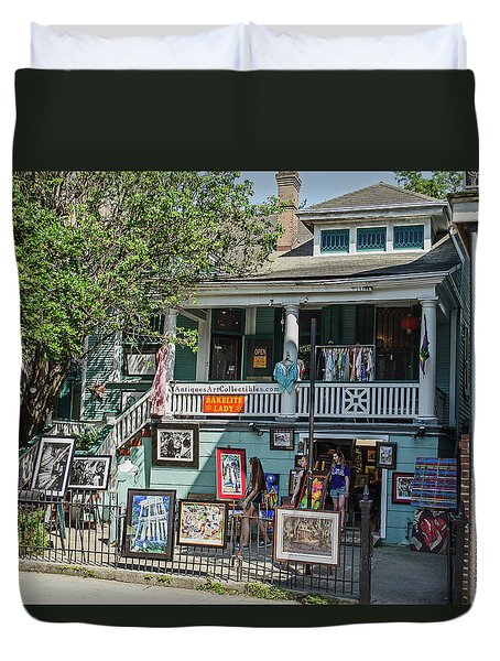 Duvet Cover featuring the photograph New Orleans - Bakelite Lady by Allen Sheffield