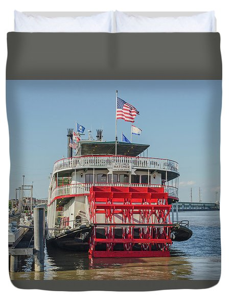 Duvet Cover featuring the photograph New Orleans - Business End Of Natchez Paddlewheeler by Allen Sheffield