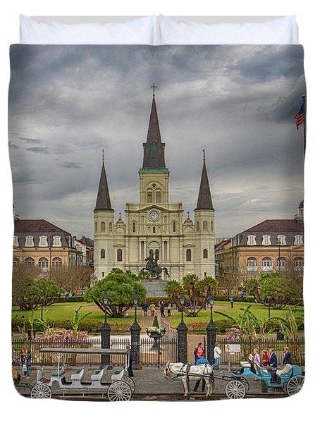New Orleans Jackson Square Duvet Cover