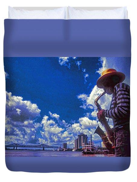 New Orleans Jazzman Duvet Cover by Dennis Cox