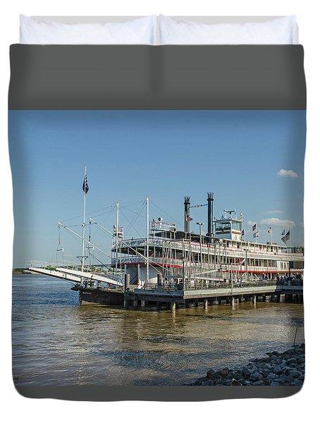 Duvet Cover featuring the photograph New Orleans - Natchez Paddlewheeler by Allen Sheffield
