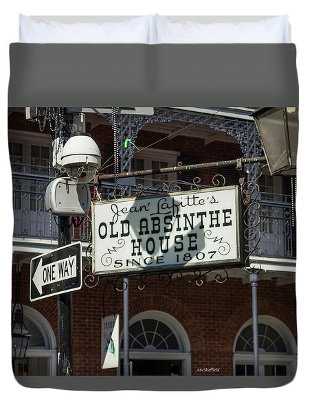 Duvet Cover featuring the photograph New Orleans - Old Absinthe House by Allen Sheffield