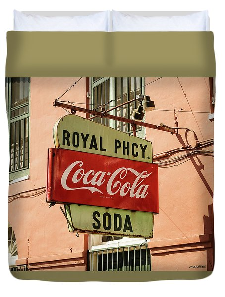 Duvet Cover featuring the photograph New Orleans - Pharmacy Sign by Allen Sheffield