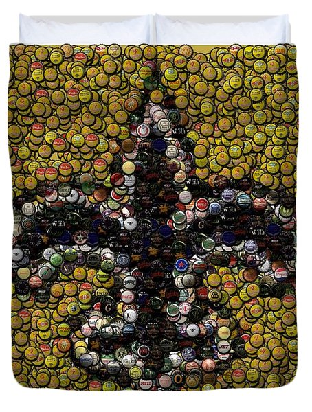 New Orleans Saints  Bottle Cap Mosaic Duvet Cover by Paul Van Scott