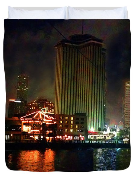New Orleans Waterfront Duvet Cover