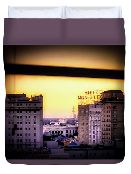 New Orleans Window Sunrise Duvet Cover
