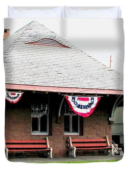New Oxford Pennsylvania Train Station Duvet Cover