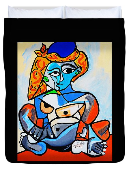 New  Picasso By Nora  Nude Woman With Turkish Bonnet Duvet Cover