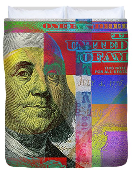 New Pop-colorized One Hundred Us Dollar Bill Duvet Cover by Serge Averbukh