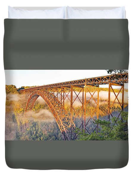 New River Gorge Bridge Morning Fall Panorama Duvet Cover