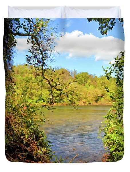 Duvet Cover featuring the photograph New River Views - Bisset Park - Radford Virginia by Kerri Farley