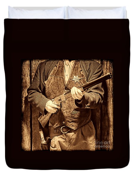 New Sheriff In Town Duvet Cover by American West Legend By Olivier Le Queinec