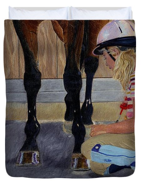 New Shoe Review Horse And Children Painting Duvet Cover