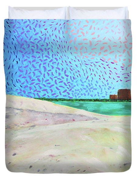 New Smyrna Beach As Seen From A Dune On Ponce Inlet Duvet Cover