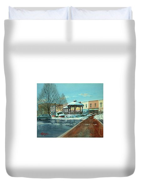 Triangle Park In Winter Duvet Cover