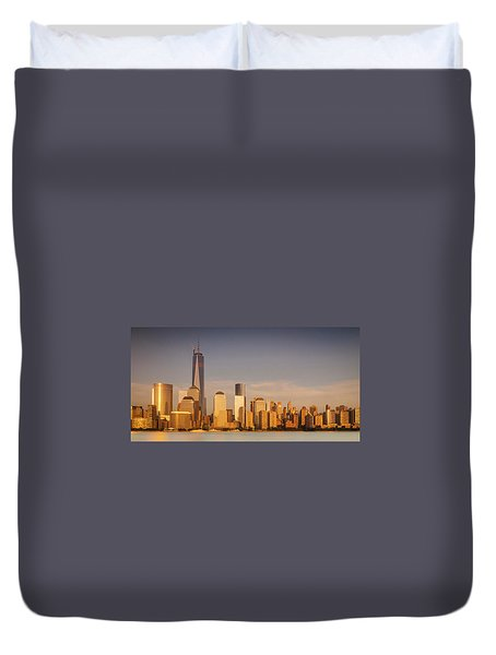 Duvet Cover featuring the photograph New World Trade Memorial Center And New York City Skyline Panorama by Ranjay Mitra