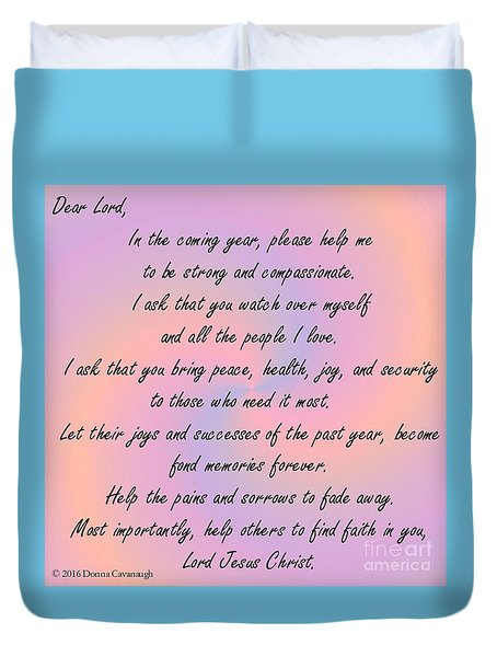 New Year Prayer Duvet Cover