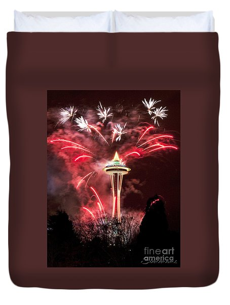 Duvet Cover featuring the photograph New Years At The Space Needle by Peter Simmons
