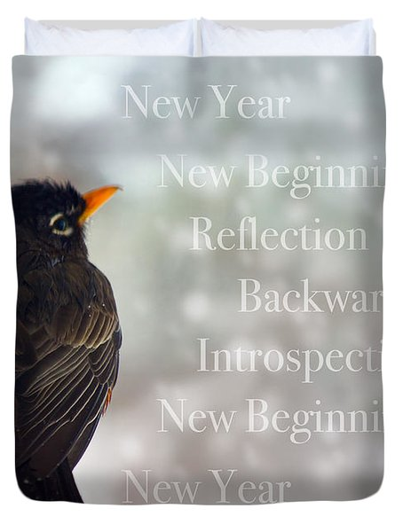 New Years Card Duvet Cover by Lisa Knechtel