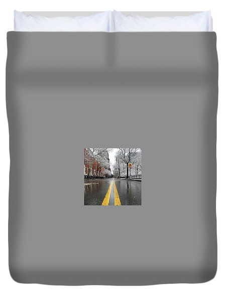 New York 1st Snow Duvet Cover