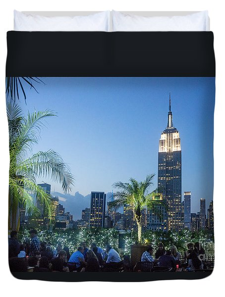 Duvet Cover featuring the photograph New York 230 Fith Rooftop Bar  by Juergen Held