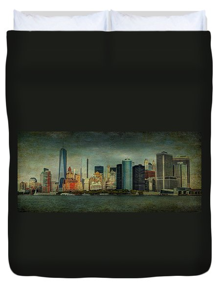 Duvet Cover featuring the mixed media New York After Storm by Dan Haraga