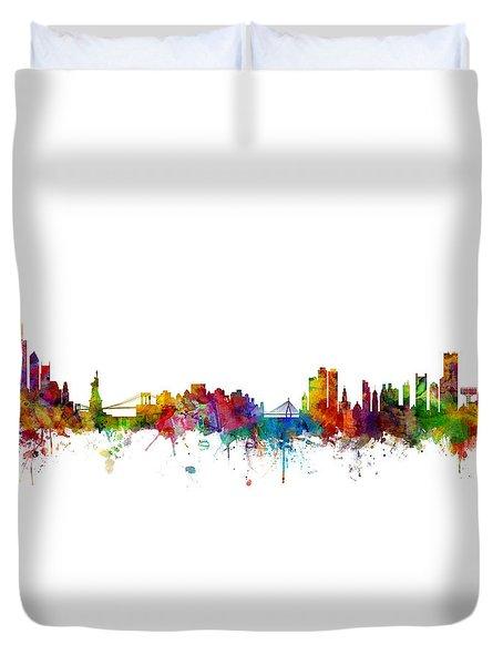 New York And Boston Skyline Mashup Duvet Cover