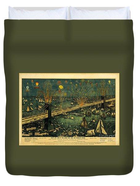 New York And Brooklyn Bridge Opening Night Fireworks Duvet Cover by John Stephens