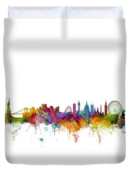New York And London Skyline Mashup Duvet Cover