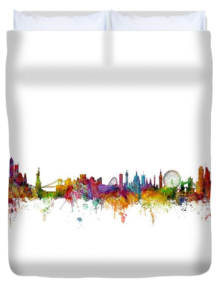 New York And London Skyline Mashup Duvet Cover by Michael Tompsett