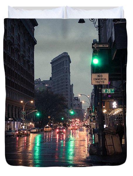 New York At Night Flatiron Duvet Cover