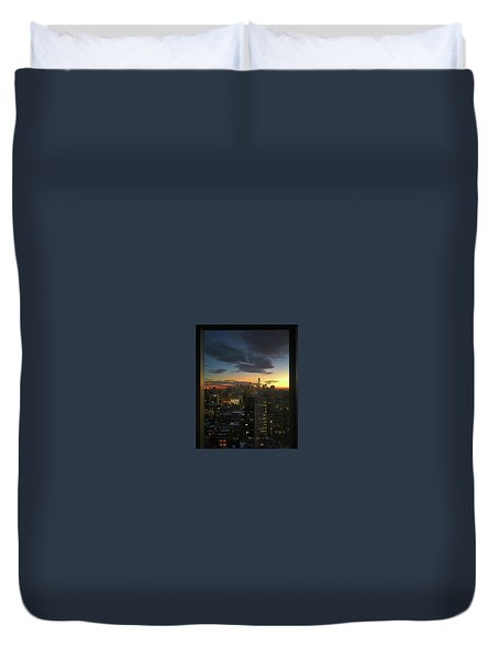 New York At Sunset Duvet Cover