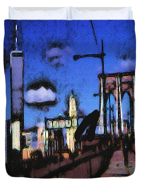 New York Blue - Modern Art Painting Duvet Cover