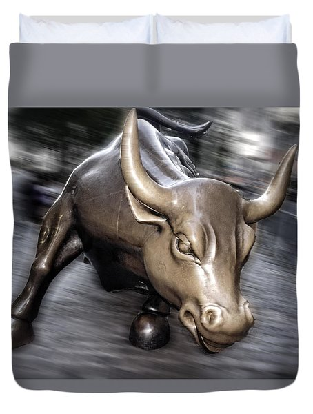 Duvet Cover featuring the photograph New York Bull Of Wall Street by Juergen Held