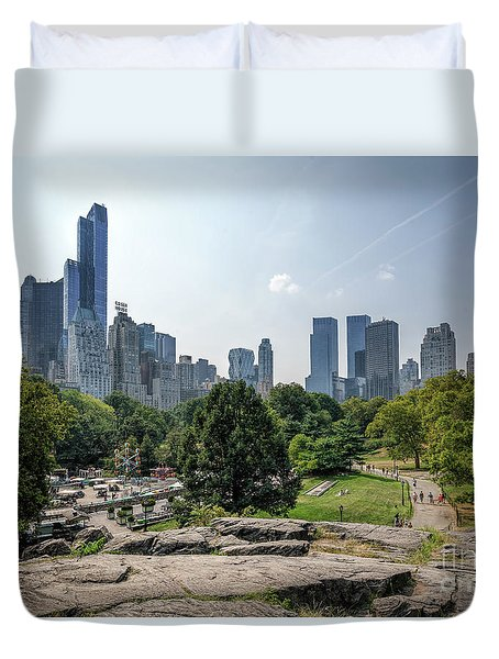 New York Central Park With Skyline Duvet Cover