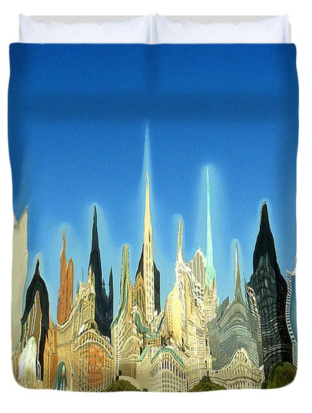 New York City Skyline 2100 - Modern Artwork Duvet Cover