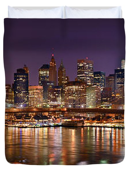 New York City Brooklyn Bridge And Lower Manhattan At Night Nyc Duvet Cover by Jon Holiday