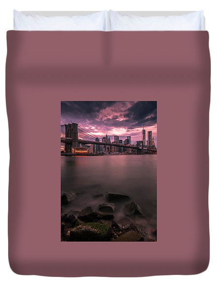 Duvet Cover featuring the photograph New York City Brooklyn Bridge Sunset by Ranjay Mitra