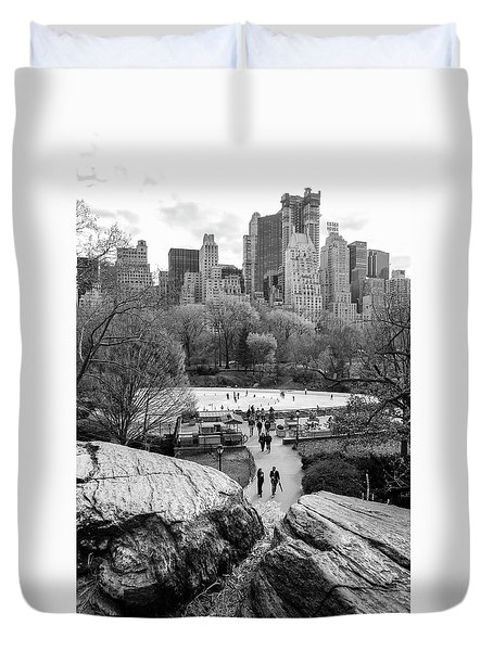 Duvet Cover featuring the photograph New York City Central Park Ice Skating by Ranjay Mitra