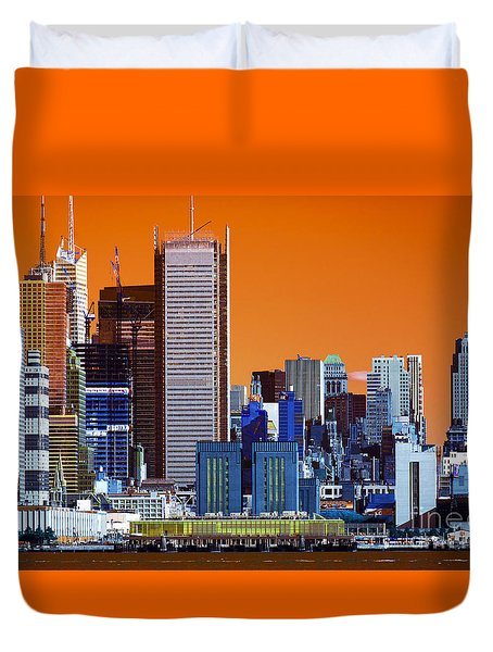 Duvet Cover featuring the photograph New York City Colors Pop Art by John Rizzuto
