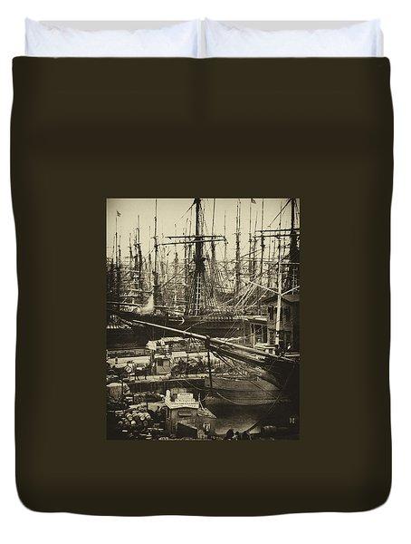 New York City Docks - 1800s Duvet Cover