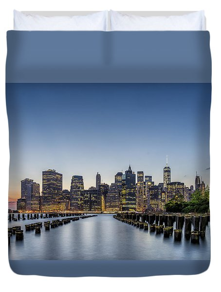 New York City Dusk Duvet Cover by Rafael Quirindongo